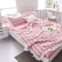 韩版空调被夏被三件套带枕套花边水洗棉夏凉被单人双人春秋薄被子
