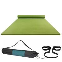 双人瑜伽垫加厚加宽加长初学者2米2米超大儿童女孩练功跳舞蹈垫子 草青绿 长2米X宽1.28米