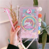 少女心手账本活页套装本粉色旅行日记本独角兽网红亮片方空白格本
