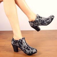 女士雨鞋雨靴高跟雨鞋拉链水鞋时尚胶鞋雨靴短筒套鞋单鞋浅口鞋