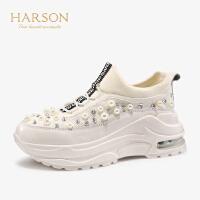【秋冬新款 限时1折起】哈森 2019秋季新款珍珠仙女风老爹鞋 运动休闲鞋小白鞋女 HL99101