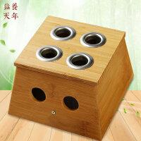 益养天年竹制四孔艾灸盒4孔温灸器四眼艾炙器多孔艾条盒随身灸 多孔温灸盒 正方形