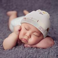 贝谷贝谷新生儿胎帽婴儿帽子春秋季0-3-6个月宝宝护卤门帽