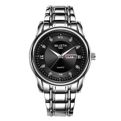 男士手表防水男表钢带双日历石英表复古手表非机械表