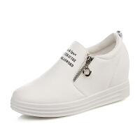秋款韩版厚底鞋一脚蹬运动懒人鞋坡跟单鞋女拉链内小白鞋