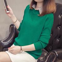 女长袖韩版短款上衣 秋冬新款衬衣领假两件针织打底衫宽松套头毛衣