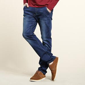 骆驼男装 春季新款无弹中腰直脚直筒牛仔裤 商务休闲长裤男