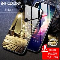 小米6X手机壳 小米6x保护套 小米6x钢化玻璃保护壳M6X软硅胶钢化玻璃镜面个性新潮网红男女彩绘外壳
