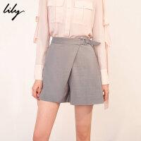 【25折到手价:137.25元】 Lily春新款女装不对称灰色格纹西装短裤休闲裤119140C5245