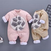 婴儿网红连体衣春秋装宝宝夹棉衣服保暖加棉新生儿薄棉衣宝宝哈衣