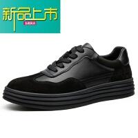 新品上市19春季新款男鞋英伦男士休闲鞋皮鞋韩版板鞋百搭鞋子男潮鞋 黑色