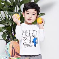 【秒杀价:49元】马拉丁童装男小童T恤春款经典圆领趣味印花长袖T恤