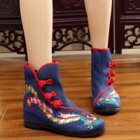 2018新款秋冬老北京布鞋女内增高短靴民族风鞋子绣花单靴加绒棉靴 蓝色 单靴