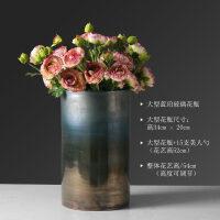 美式玻璃花瓶摆件 客厅 插花现代家居装饰摆件圆柱形渐变色大花瓶抖音 +15支美人勺