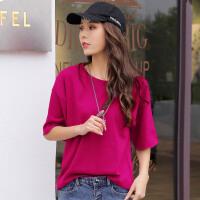 夏季宽松大码新款短袖中长时尚棉纯色韩版女装上衣t恤衫