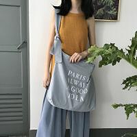 韩版原创帆布包百搭简约印花女士单肩斜挎包学院风女购物袋手提包