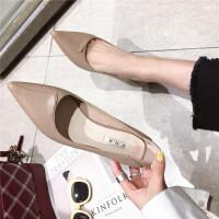 2019春季新款韩版气质百搭尖头细跟低跟单鞋女鞋简约纯色浅口单鞋