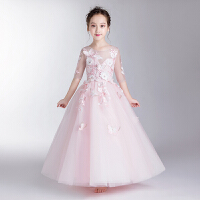 儿童主持人走秀钢琴演出服晚礼服 夏季女童公主裙礼服花童婚纱蓬蓬裙
