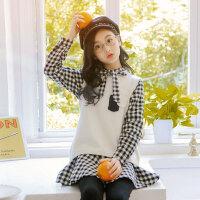 儿童连衣裙 女童冬装裙子套装2020新款儿童套装裙学院风针织毛衣衬衫裙两件套