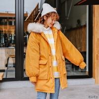 棉衣女冬装2018新款韩版中长款连帽毛领大口袋加厚ins棉袄潮