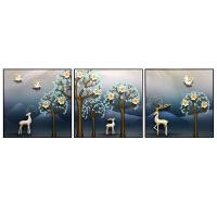沙发背景墙客厅装饰画现代简约3d立体轻奢晶瓷浮雕壁画三联墙挂画 60*60*3联 12mm薄板 整套标价