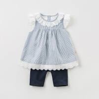 [2件3折价:78.9]davebella戴维贝拉夏装女童套装 宝宝条纹两件套小仙女上衣洋气