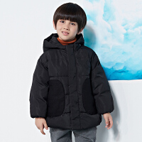【双12年终大促2件2.5折后到手价:249.75元】马拉丁童装男童黑色羽绒服冬装新款外套口袋拼接外套
