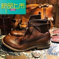 新品上市雕花风格英伦复古韩版真皮时尚马丁工装短靴男女高帮情侣鞋 8170