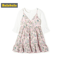 巴拉巴拉童装女童裙子春季2019新款小童宝宝假两件儿童碎花连衣裙