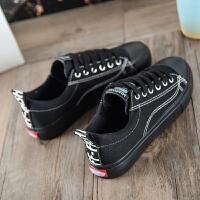 男女中大童布鞋子韩版小黑鞋女中小学生板鞋男平底透气帆布鞋男孩