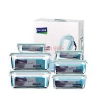 GlassLock/三光云彩韩国进口 钢化玻璃扣保鲜便当饭盒六件套礼品盒 GL10-6A