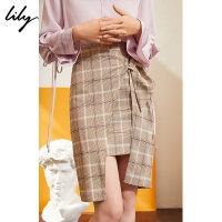【限时一口价179元】全场叠加100元券 Lily春新款女装格纹高腰修身裹式包臀裙半身裙119140C6272