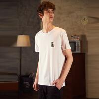 【2件2.5折】唐狮短袖T恤男夏季新款纯棉圆领纯色打底衫衣服潮流韩版男装