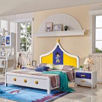 北欧儿童床男孩女孩 粉红色公主床单人床儿童房简约实木床彩色床