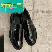 新品上市小胡子店19新款时尚铆钉套脚皮鞋鞋男士潮鞋低帮鞋漆皮男鞋 黑色