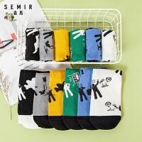 森马2020春秋新品中性中筒长短袜卡通印花可爱韩版学院风潮短袜子