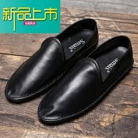 新品上市春季潮鞋豆豆鞋男真皮鞋男鞋一脚蹬休闲鞋英伦懒人鞋牛皮男鞋