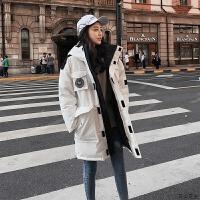 羽绒服女韩版中长款时尚2018新款宽松加厚过膝冬季连帽工装外套潮