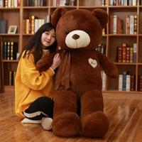 泰迪熊猫公仔毛绒玩具可爱大号睡觉抱抱熊娃娃生日礼物送女生玩偶 咖啡色思念熊 全长1.2米(袋装+送玫瑰花)