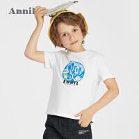 【2件4折价:55.6】安奈儿童装男童T恤短袖2021新款洋气印花夏装宝宝男孩上衣纯棉薄