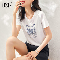 【3折折后价:59元】OSA欧莎T恤女夏季2021年新款修身衣服字母印花体恤上衣潮