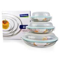 GlassLock/三光云彩钢化玻璃乐扣 保鲜盒|碗果盘礼盒三件套装GL101-5便当盒