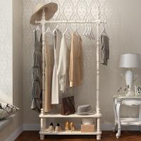 室内晾衣架卧室实木 欧式实木挂衣架落地 卧室衣帽架多功能客厅收纳衣架子简约现代