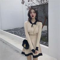 扑啦啦韩风女神气质毛衣配裙子两件套秋装上衣高腰短裙洋气套装女 针织上衣+半身裙 均码