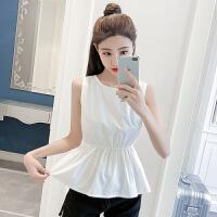 夏季新款韩版性感收腰露背无袖雪纺上衣女修身显瘦蝴蝶结衬衣