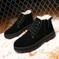 百搭工装靴冬季男士马丁靴韩版潮流男靴子加绒保暖雪地靴高帮棉靴