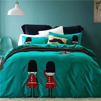 英伦风儿童床上用品三件套1.2m床单男孩被套1.5米男童四件套纯棉f定制