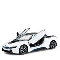 遥控车i8充电动可开门遥控汽车赛车漂移跑车儿童玩具车模 白色 宝马i8 一键开门 车身USB充电+遥控器