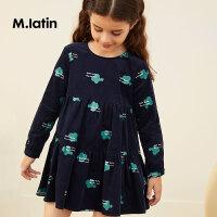 【2件2.5折:99元】马拉丁童装女童波点印花长袖连衣裙秋装新款拼接设计可爱裙子