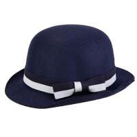 新款羊毛呢小礼帽 英伦复古蝴蝶结圆顶爵士毡帽盆帽子女时尚